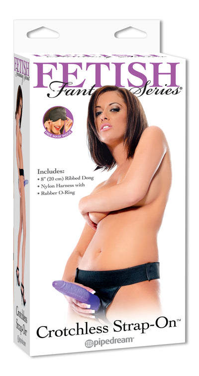 Pipedream Fetish Fantasy Series Crotchless Strap On Kit with 8 inch Purple Jelly Dildo