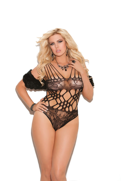 Elegant Moments Lace Teddy with Cutout Detail Black Queen Size