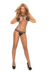 Elegant Moments Big Diamond Net Bodystocking with Open Crotch Black Queen Size