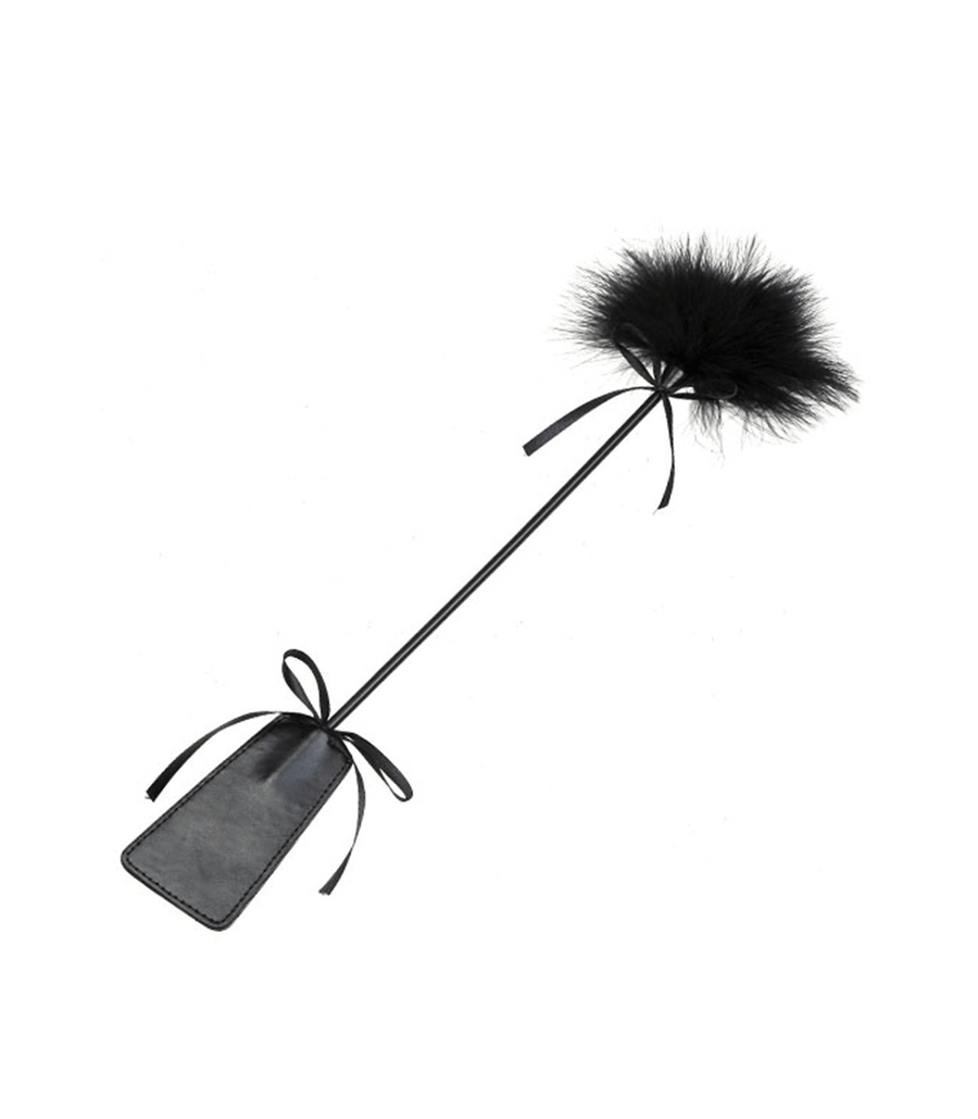 Berlin Baby Double Ended Paddle Crop with Feather Tickler and Bows Black