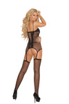 Elegant Moments 3 Piece Set includes Seamless Diamond Net Camisette + G String + Fishnet Thigh High Stockings Black One Size