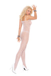 Elegant Moments Fishnet Bodystocking with Open Crotch White Queen Size