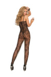 Elegant Moments Rose Lace Bodystocking with Open Crotch Black One Size