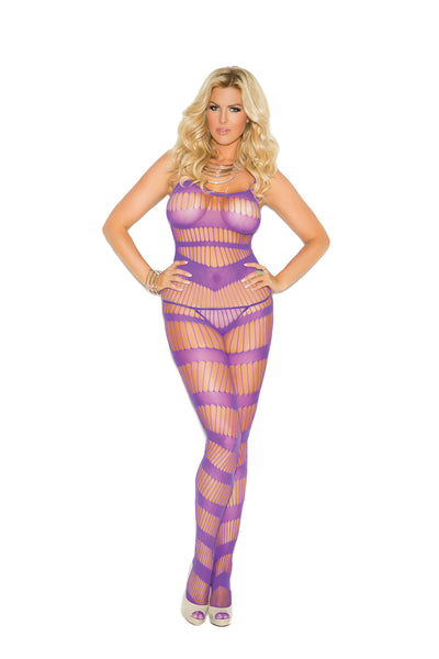 Elegant Moments Strappy Bodystocking with Open Crotch Purple Queen Size
