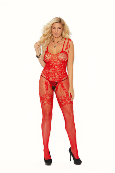 Elegant Moments Fishnet and Lace Bodystocking with Open Crotch Red Queen Size