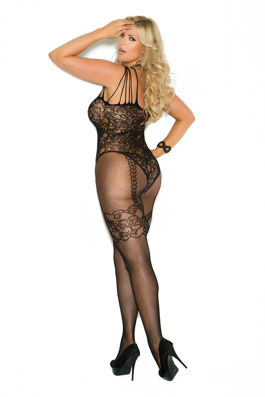 Elegant Moments Fishnet and Lace Bodystocking with Open Crotch Black Queen Size