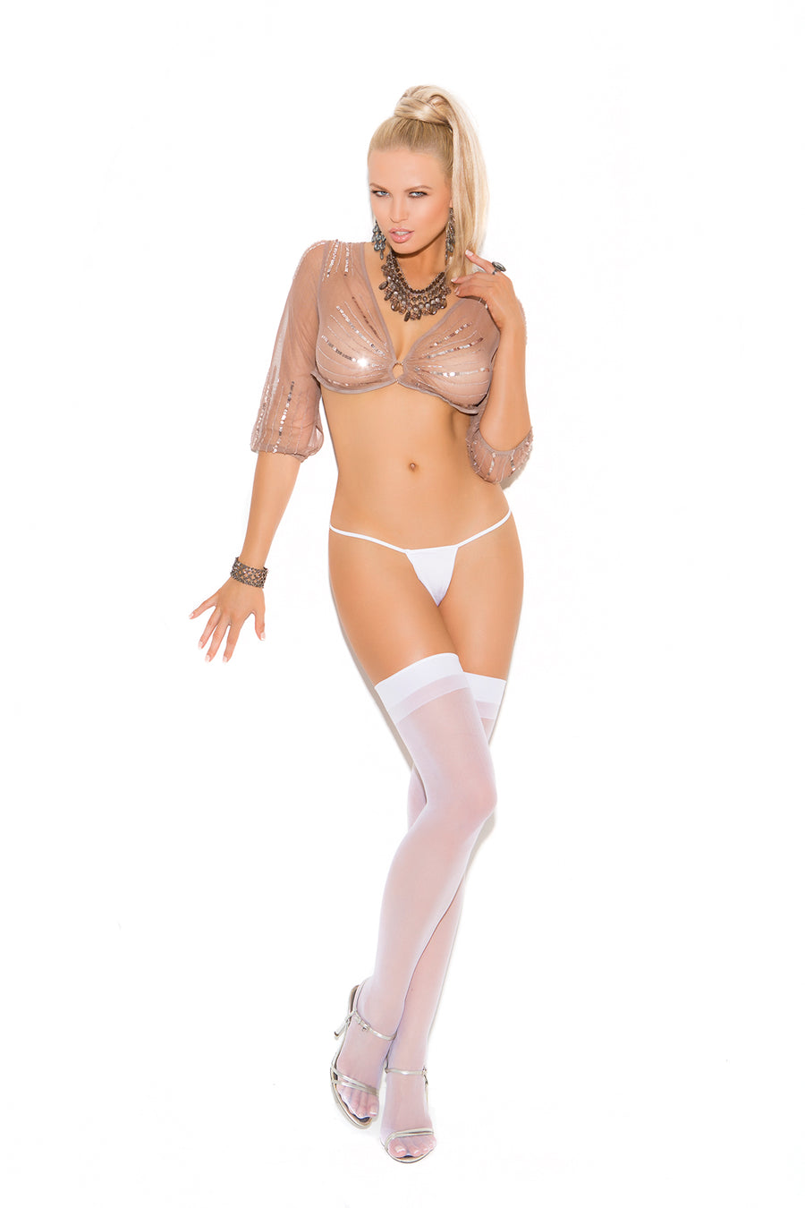Elegant Moments Sheer Back Seam Thigh High One Size White