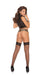 Elegant Moments Fence Net Thigh High with Lace Top and Back Seam Black One Size