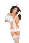 Elegant Moments Nurse Feel Good Mesh Teddy attached leg garters and Head Piece 2 Piece Costume Set White and Red One Size