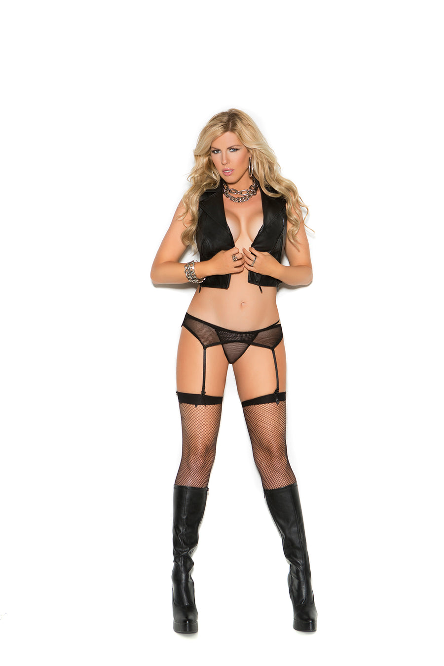 Elegant Moments Fishnet Garter Belt with Matching Panty Black Queen Size