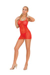 Elegant Moments Fishnet Mini Dress with G String 2 Piece Set Red One Size