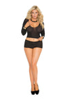 Elegant Moments Long Sleeve Opaque Cami and Booty Shorts Black Queen Size