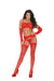 Elegant Moments Four Piece Set includes Lace Bra + Garter Belt + G String + Gloves Red One Size