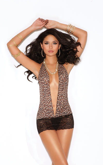 Elegant Moments V Plunge Halter Neck Mini Dress Leopard Print and Black Lace Skirt One Size