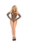Elegant Moments Floral Lace Fishnet Teddy with One Shoulder and Matching Gloves 2 Piece Set Black Queen Size