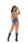 Elegant Moments Frisky Officer Police Woman 4 Piece Cop Costume Set Royal Blue and Yellow One Size includes Wrist Handcuffs