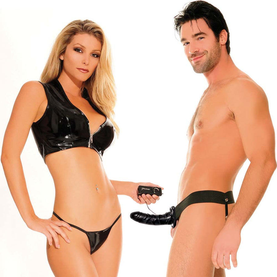 Pipedream Fetish Fantasy Series Vibrating Hollow Strap On for Him or Her 6 inch Black