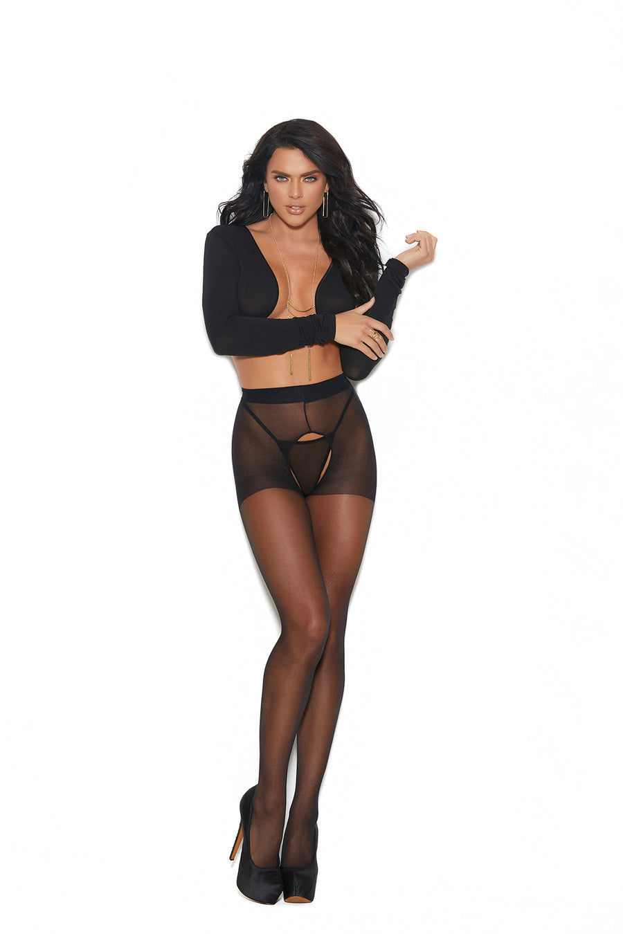 Elegant Moments Sheer Crotchless Pantyhose with Back Seam Black One Size