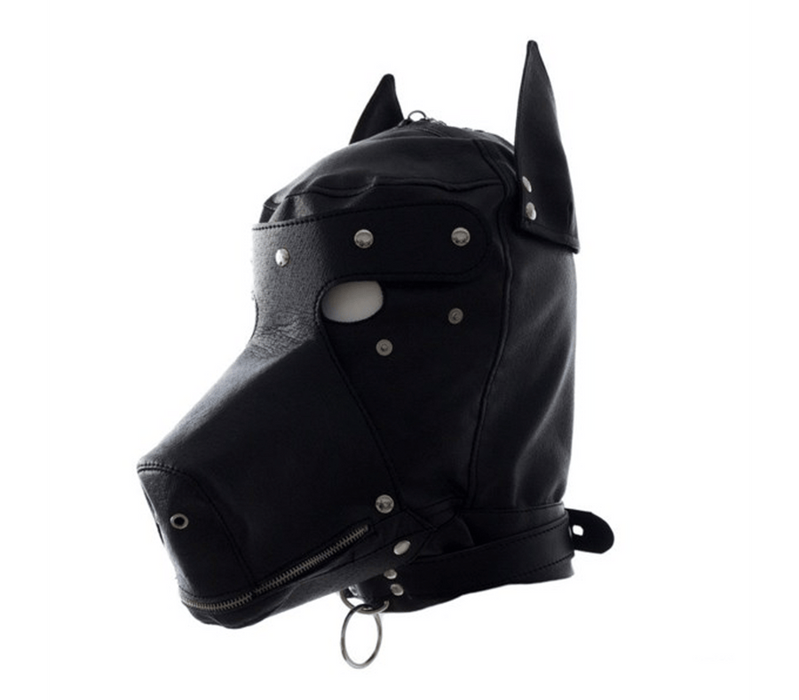 Muzzled Universal Puppy Play Faux Leather Dog Hood Black