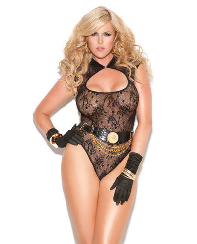 Elegant Moments Lace Teddy Black