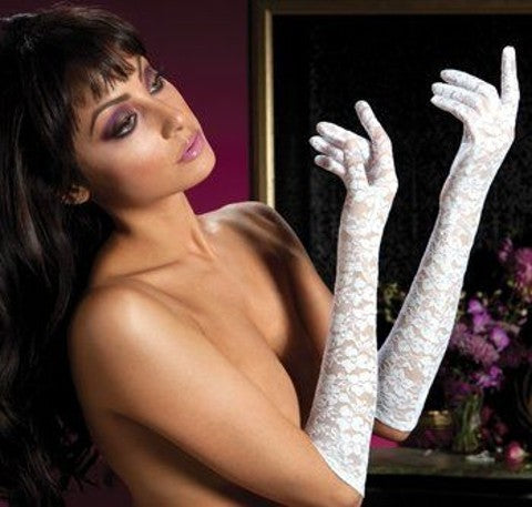 Seven Til Midnight Lace Elbow Length Gloves White One Size