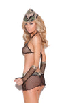 Elegant Moments Army Soldier Girl Major Hottie 4 Piece Costume Set Camouflage One Size