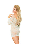 Elegant Moments Long Sleeve Mini Dress with Lace Up Front Mint Green Queen Size