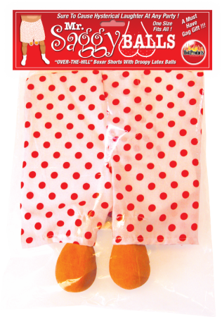 Mr Saggy Balls Boxer Shorts with Droopy Latex Balls One Size