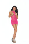 Elegant Moments Lace Cupless Mini Dress Neon Pink One Size