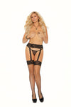 Elegant Moments Diamond Net Thigh High with Back Seam and Lace Garter Belt Black Queen Size