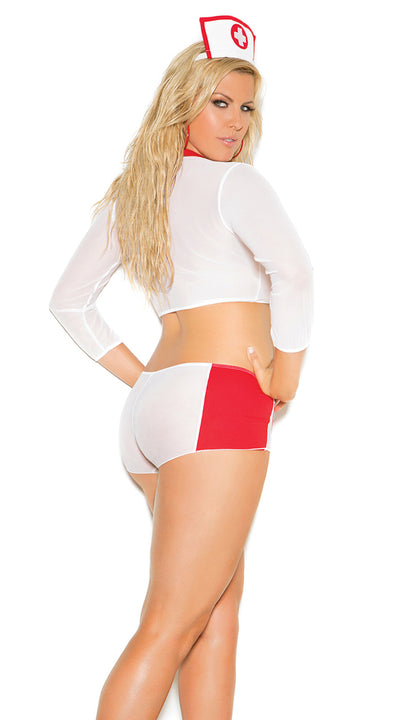 Elegant Moments Heart Breaker Nurse 3 Piece Costume Set White and Red Queen Size