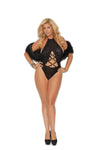 Elegant Moments Lace and Opaque Halter Neck Teddy with Criss Cross and Rhinestone Detail Black Queen Size