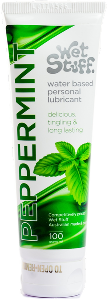 Wet Stuff Peppermint Flavored with A Tingle Water Based Delay Effect Lubricant 100g