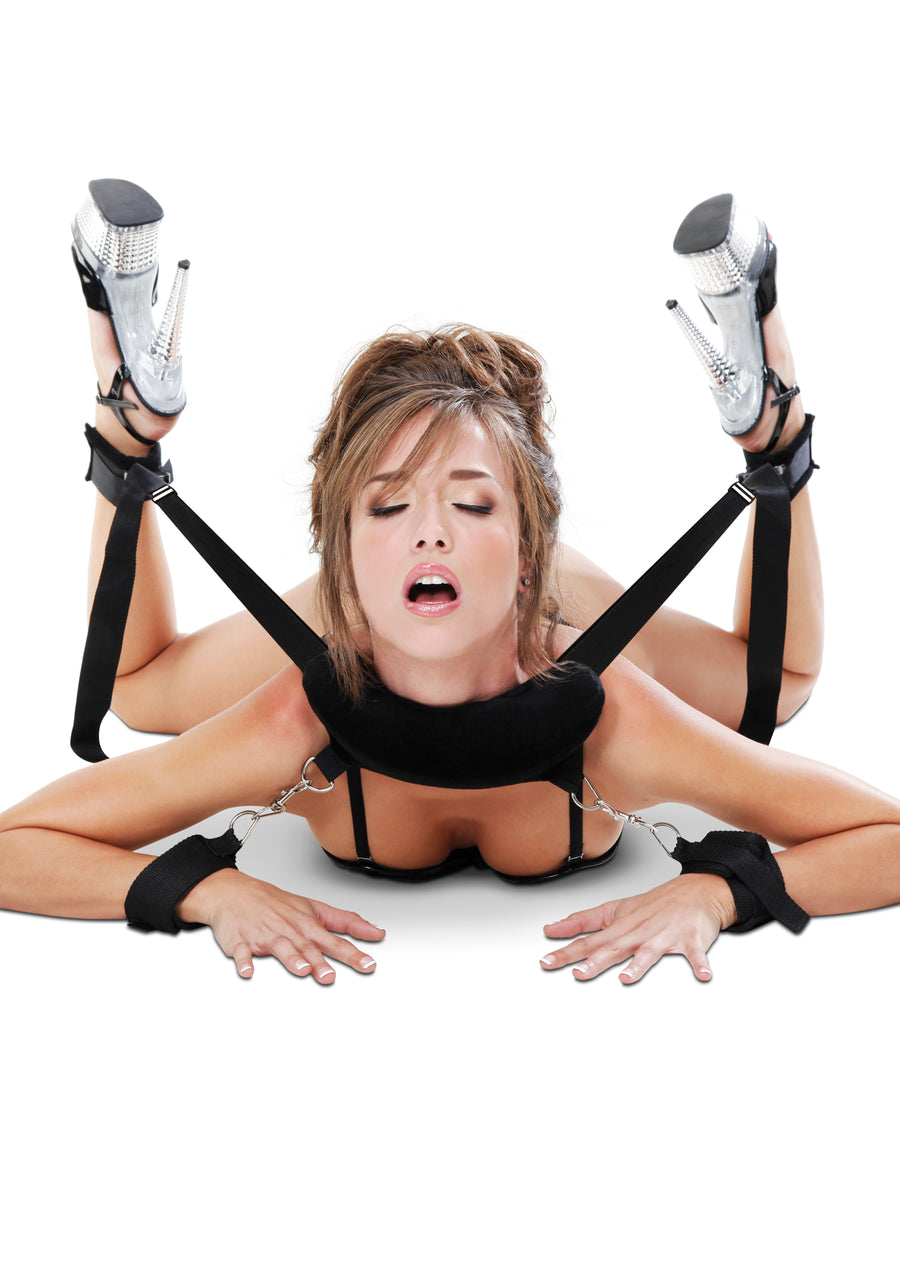 Pipedream Fetish Fantasy Position Master with Wrist Handcuffs and Ankle Cuffs and Love Mask Black