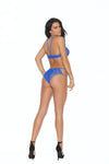 Elegant Moments Fishnet Bralette and Matching Panty Royal Blue One Size