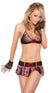Elegant Moments Ready for Recess Schoolgirl 2 Piece Costume Pleated Mini Skirt and Matching Bra Top One Size Red Black and White Plaid