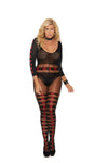Elegant Moments Sheer and Opaque Long Sleeve Bodystocking with Horizontal Stripes and Open Crotch Black and Red Queen Size