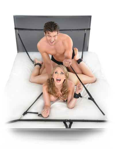 Pipedream Fetish Fantasy Series Ultimate Bed Restraint System includes Wrist Handcuffs and Ankle Cuffs Black