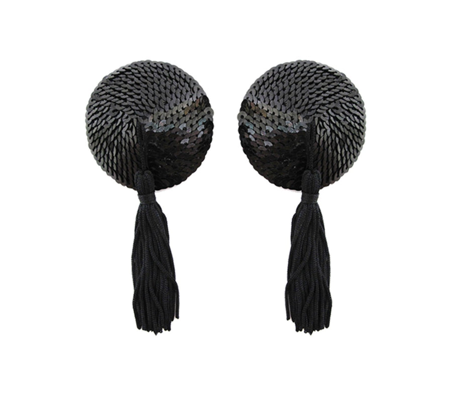 Round Sequins Nipple Pasties with Tassels 2 Pack