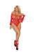 Elegant Moments Lace Halter Neck Teddy Red
