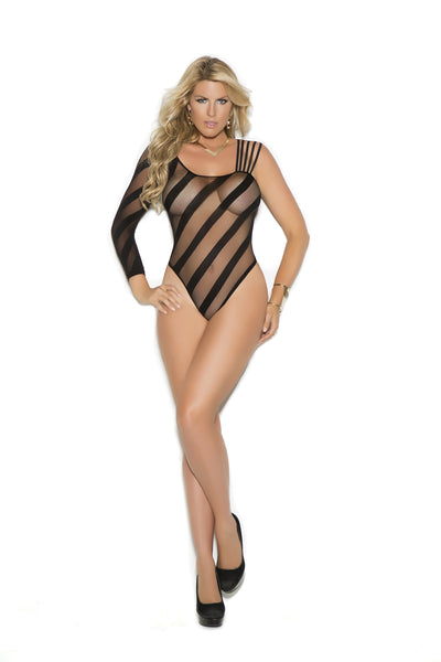 Elegant Moments Sheer Open Crotch Burnout Teddy Black Queen Size