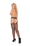 Elegant Moments Sheer Suspender Pantyhose Black Queen Size