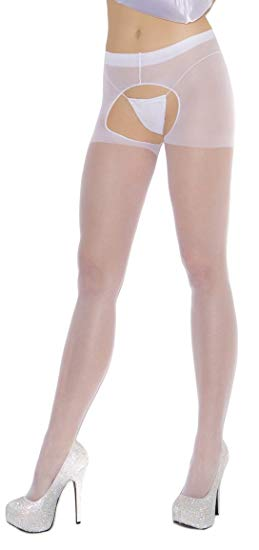 Elegant Moments Sheer Crotchless Pantyhose White One Size