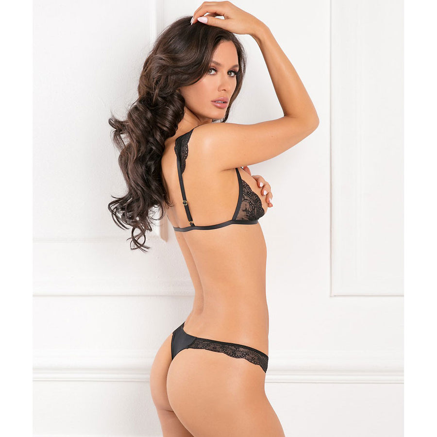 Rene Rofe Sexy Show Me Off Open Cup Bra 2 Piece Set Black