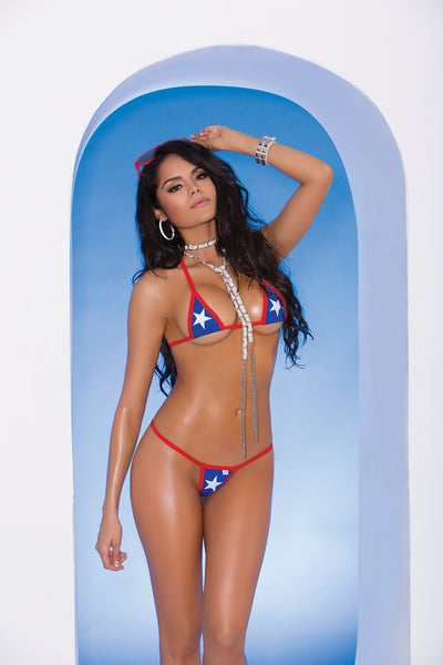 Elegant Moments Lycra Triangle Bikini Top and Matching G String with Red Trim and Star Detail Royal Blue One Size