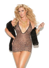Elegant Moments Deep V Mini Dress Leopard Print Queen Size