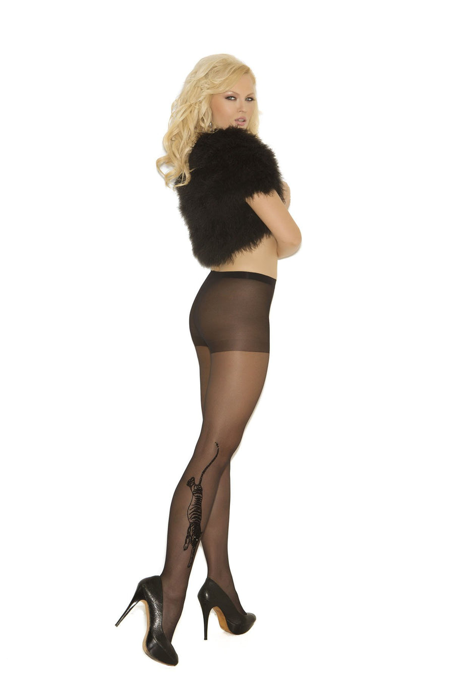 Elegant Moments Tiger Print Sheer Pantyhose Black One Size