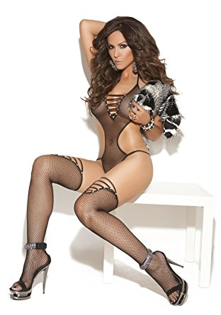 Elegant Moments 2 Piece Fishnet Teddy with Rhinestones Set includes Thigh High Black One Size