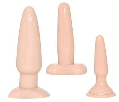 NMC Vanilla Dip Suction Cup Butt Plugs 3 Piece Anal Trainer Kit for Beginners Sexy Flesh
