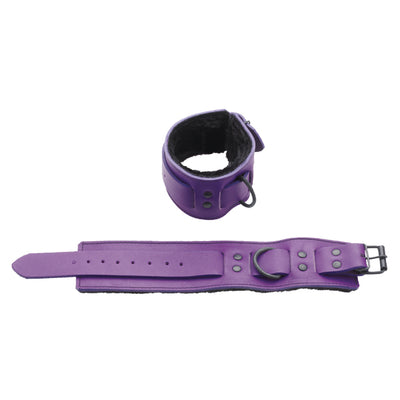 Spartacus Crave Purple Leather Wrist Restraints with Black Faux Fur Line